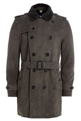 Burberry London Suede Trench With Shearling Grey