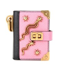 Prada Leather Booklet Key Charm Pink