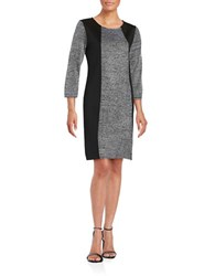 Calvin Klein Plus Three Quarter Sleeve Sweater Dress Black White