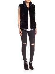 Glamourpuss Reversible Rabbit Fur Vest Black