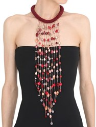 Sharra Pagano Milano Burgundy Long Fringe Necklace For Lvr
