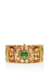 Amrapali 18K Gold Royal Enamel Detailed Diamonds Rubies By And Emeralds Cuff Multi