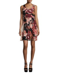 Elizabeth And James Sleeveless Floral Silk Mini Dress Multicolor Multi Floral