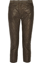 Isabel Marant Quilted Leather Straight Leg Pants Green