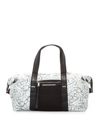 French Connection Indy Marble Print Nylon Duffle Bag Marble Black