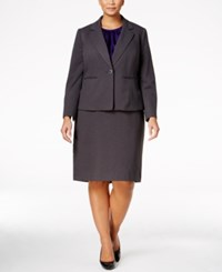 Le Suit Plus Size Three Piece One Button Skirt Ash Regal