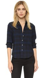 Equipment Kate Moss London Shrunken Flannel Shirt Midnight