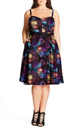 City Chic Plus Size Women's 'Open Rose' Belted Floral Fit And Flare Dress