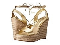 Michael Kors Clive Pale Gold Metallic Nappa Jute Women's Wedge Shoes