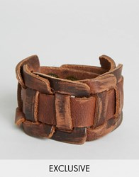 Reclaimed Vintage Leather Woven Cuff Bracelet Brown