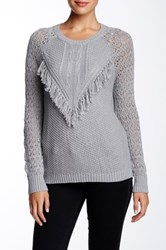 Autumn Cashmere Fringe Crew Neck Sweater Gray