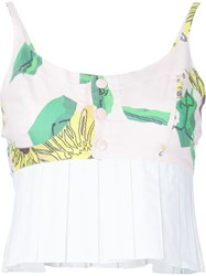 Julien David Sunflower Print Bustier Top Pink And Purple