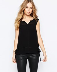 Y.A.S Mimi Sleeveless Top With Tie Sides Black