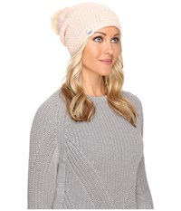 Ugg Crochet Beanie With Lurex Sequins Toscana Pom Freshwater Pearl Multi Beanies White