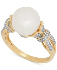 Honora Style Freshwater Pearl 10Mm And Diamond 1 5 Ct. T.W. Ring In 14K Gold White
