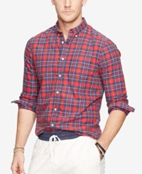 Denim And Supply Ralph Lauren Men's Plaid Oxford Shirt Red