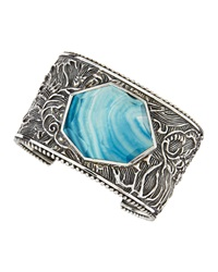 Stephen Dweck Engraved Sterling Silver Blue Agate Cuff
