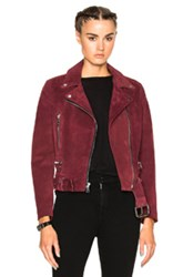 Theperfext London Belted Suede Moto Jacket In Red