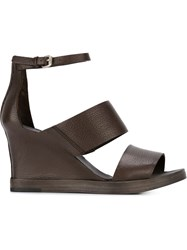 Buttero Wedge Sandals Brown