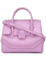 Versace 'Palazzo Empire' Woven Accent Tote Pink And Purple