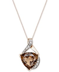 Macy's Smoky Quartz 3 1 2 Ct. T.W. And Diamond Accent Pendant Necklace In 14K Rose Gold
