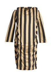 Vivienne Westwood Fatima Silk Crepe Striped Dress Black Multi