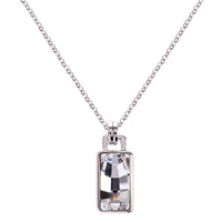 Karen Millen Luxe Oblong Crystal Pendant Drop Necklace Silver