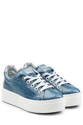 Kenzo Coated Denim Platform Sneakers Blue