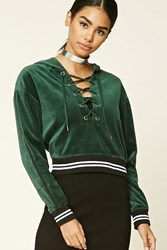 Forever 21 Velour Lace Up Hoodie