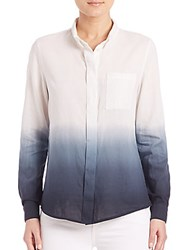Elie Tahari Pria Ombre Button Front Blouse White Navy