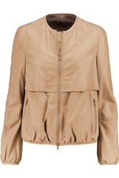 Brunello Cucinelli Tiered Leather Jacket Nude
