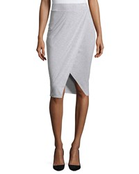 Philosophy Draped Faux Wrap Midi Skirt Mist Grey