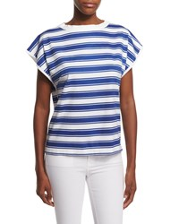 Mih Jeans Plage Cap Sleeve Striped Tee Skipper Blue