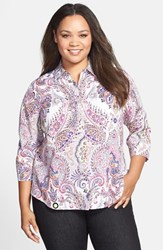 Foxcroft Plus Size Women's Paisley Shaped Cotton Shirt