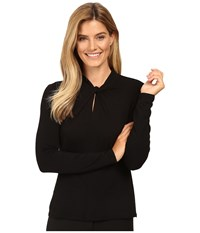 Vince Camuto Long Sleeve Twist Neck Keyhole Top Rich Black Women's Clothing