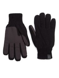 Bickley And Mitchell Faux Suede Palm Knit Gloves Black