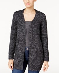 Karen Scott Marled Open Front Cardigan Only At Macy's Black White Marl