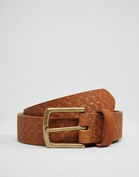 Asos Leather Belt With Emboss Tan