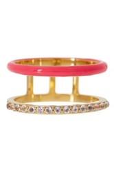 Elizabeth And James 24K Gold Plated White Topaz Dylan Band Ring Metallic