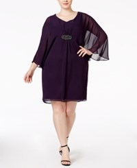 Connected Plus Size Illusion Sleeve Chiffon Shift Dress Dk Amethys