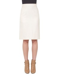Akris Fairy Plaid Pencil Skirt Pelican Flamingo