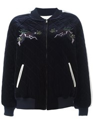Steve J And Yoni P Embroidered Quilted Bomber Jacket Blue