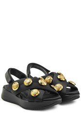 Burberry Prorsum Fabric Sandals With Embellished Buttons Black