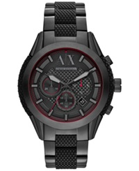 Ax Armani Exchange Men's Chronograph Black Silicone And Black Ion Plated Stainless Steel Bracelet Watch 47Mm Ax1387