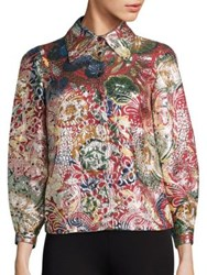 Burberry Floral Metallic Jacquard Flared Sleeve Jacket Red Multi