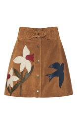 Red Valentino Suede Macroflower Embroidered Skirt Brown