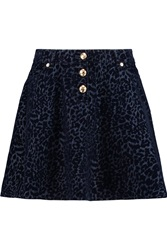 Love Moschino Leopard Devore Denim Mini Skirt