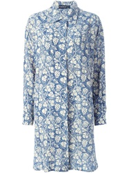 Louis Feraud Vintage Vine Print Shirt Dress Blue