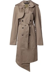 Y Project Hooded Trench Coat Brown