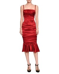 Dolce And Gabbana Ruched Satin Cocktail Dress Red